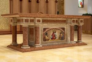 Altar with Emmaus mosaic