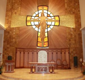 Reredos with Cast Glass Cross